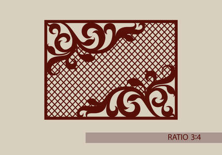Floral ornament. The template pattern for decorative panel. A picture suitable for paper cutting, printing, laser cutting or engraving wood, metal. Stencil manufacturing.