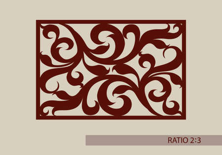 laser cutting: Floral ornament. The template pattern for decorative panel. A picture suitable for paper cutting, printing, laser cutting or engraving wood, metal. Stencil manufacturing.