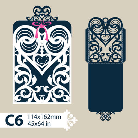 Layout congratulatory envelope with carved openwork pattern heart. Template for wedding greeting cards, invitations, etc. Picture suitable for laser cutting, plotter cutting or printing.