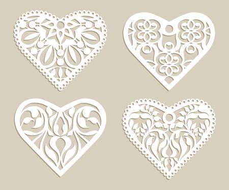 Fije los corazones plantilla de encaje con el patrón de calado tallado. Modelo para el diseño de interiores, diseños tarjetas de boda, invitaciones, etc. imagen adecuada para el corte por láser, plotter de corte o la impresión.