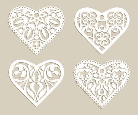 laser cutting: Set stencil lacy hearts with carved openwork pattern. Template for interior design, layouts wedding cards, invitations, etc. Image suitable for laser cutting, plotter cutting or printing.