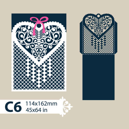 laser cutting: Layout congratulatory envelope with carved openwork pattern heart. Template for wedding greeting cards, invitations, etc. Picture suitable for laser cutting, plotter cutting or printing.