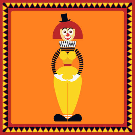 extravagant: Funny clown is in beautiful pose. Flat style.