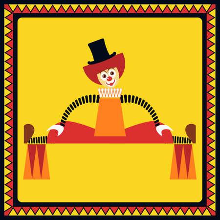 ironic: Funny clown performs big splits on two pillars. Flat style.
