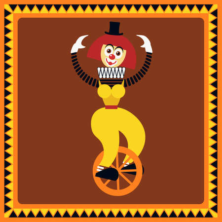 Funny female clown teetering on a unicycle. The equilibrist balances. Flat style.
