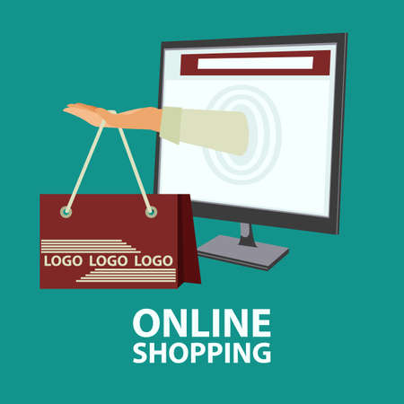 Hand with shopping bag sticking out from monitor. E-commerce, online shopping, buying internet concept in flat style. Illustration