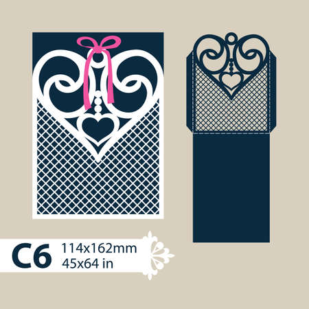 corte laser: Layout congratulatory envelope with carved openwork pattern heart. Template for wedding greeting cards, invitations, etc. Picture suitable for laser cutting, plotter cutting or printing. Vector Vectores