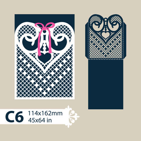 laser cutting: Layout congratulatory envelope with carved openwork pattern heart. Template for wedding greeting cards, invitations, etc. Picture suitable for laser cutting, plotter cutting or printing. Vector Illustration