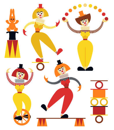 Funny women clowns in various poses. Amusing female teetering on the coil. The equilibrist balances on on a unicycle. Circus juggler balls. Flat style. Vector illustration