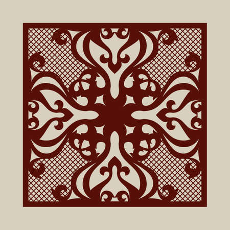 laser cutting: Oriental ornament. The template for decorative panel. Pattern suitable for printing, engraving, laser cutting paper, wood, metal, stencil manufacturing. Vector Illustration
