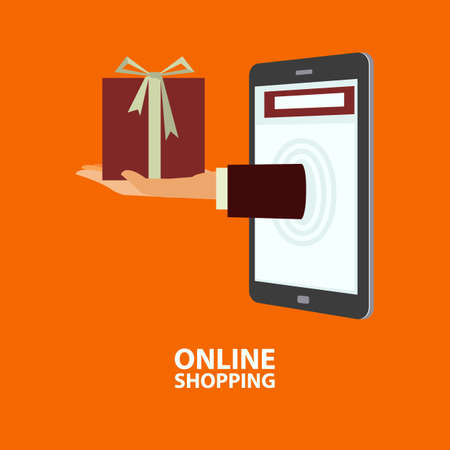 delivers: Hand delivers gift box out from mobile phone. E-commerce, internet shopping. Buying concept in flat style. Vector illustration, easy to edit
