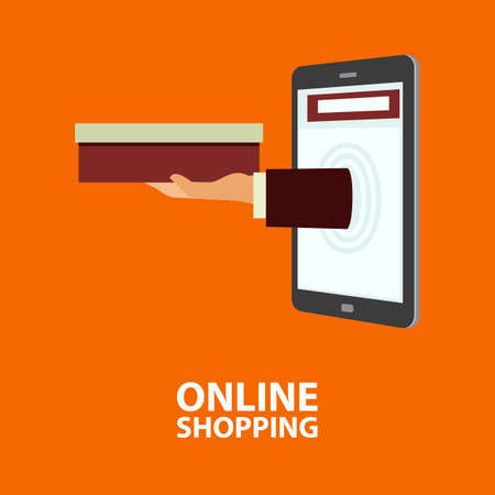 delivers: Hand delivers boxes with the purchased goods out from mobile phone. E-commerce, internet shopping. Buying concept in flat style. Vector illustration, easy to edit Illustration