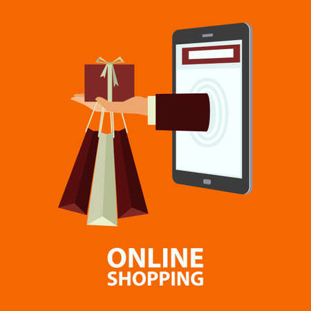 purchased: Hand delivers shopping bags with the purchased goods and gift box out from mobile phone. E-commerce, internet shopping. Buying concept in flat style. Vector illustration, easy to edit