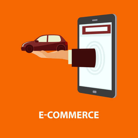 delivers: Hand delivers automobile out from monitor mobile phone or tablet. E-commerce, online shopping, internet buying, purchase and rental property concept. Vector illustration in flat style, easy to edit