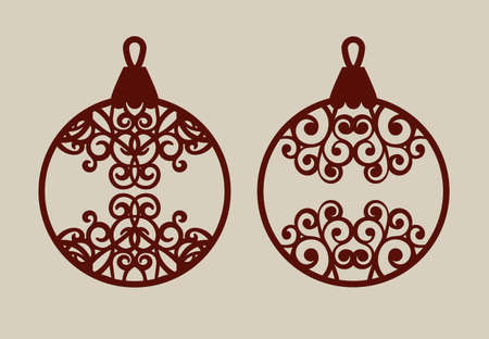 Christmas Balls With Lace Pattern. Template For Greeting Card ...
