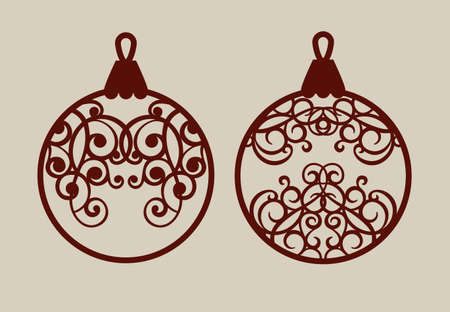 laser cutting: Christmas balls with lace pattern. Template for greeting card, banner, invitation, for New Years design party or interiors. Picture perfect for laser cutting, plotter cutting or printing