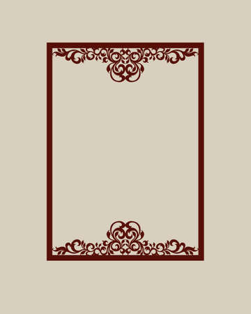 laser cutting: Abstract square photo frame with swirls. Pattern is suitable for greeting cards, invitations, menus, design interiors etc. Template suitable for laser cutting or printing. Vector