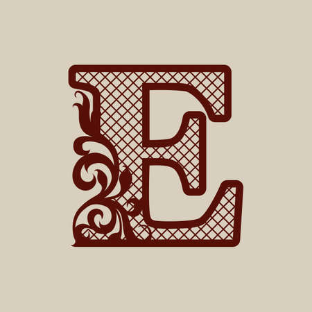 Initial letter E. Carved openwork pattern. Template can be used for interior design, greeting and wedding cards, invitations, etc. Picture suitable for laser or plotter cutting stencils or printing