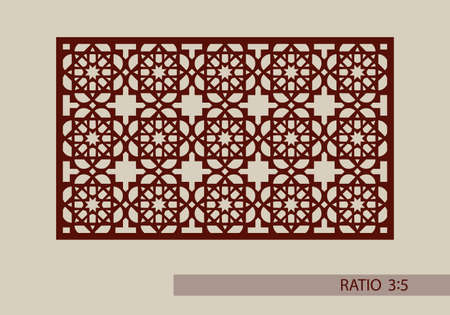 laser cutting: Geometric ornament. The template pattern for decorative panel. A picture suitable for paper cutting, printing, laser cutting or engraving wood, metal. Stencil manufacturing. Vector