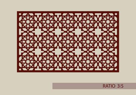 grecas: ornamento geométrico. El patrón de plantilla para el panel decorativo. Una imagen adecuada para el corte de papel, impresión, corte por láser o grabado en madera, metal. la fabricación de la plantilla. Vector Vectores
