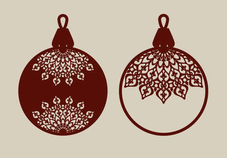 De ballen van Kerstmis met kant patroon. Sjabloon voor wenskaart, banner, uitnodiging, voor New Years ontwerp partij of interieurs. Picture perfect voor lasersnijden, plotter snijden of drukwerk Stock Illustratie