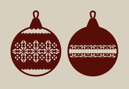 corte laser: Bolas de Navidad con patrón de encaje. Plantilla para la tarjeta de felicitación, bandera, invitación, para la fiesta de Año Nuevo diseño de interiores o. Imagen perfecta para el corte por láser, plotter de corte o impresión