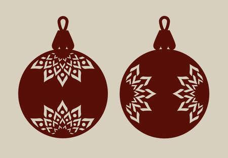 Bolas de Navidad con patrón de encaje. Plantilla para la tarjeta de felicitación, bandera, invitación, para la fiesta de Año Nuevo diseño de interiores o. Imagen perfecta para el corte por láser, plotter de corte o impresión Ilustración de vector