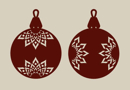 Christmas balls with lace pattern. Template for greeting card, banner, invitation, for New Years design party or interiors. Picture perfect for laser cutting, plotter cutting or printing