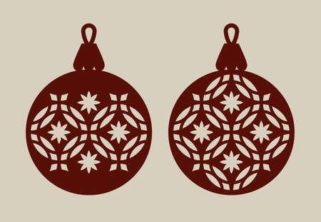 Bolas de Navidad con patrón de encaje. Plantilla para la tarjeta de felicitación, bandera, invitación, para la fiesta de Año Nuevo diseño de interiores o. Imagen perfecta para el corte por láser, plotter de corte o impresión