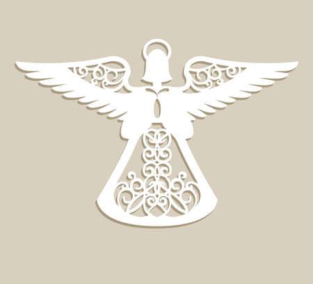 Noël sculpté ajouré ange. Un modèle pour la découpe laser. Image parfaite pour arbre décorations de vacances, carte de voeux, design d'intérieur, la production de pochoir, pour les enfants et la famille art créativité Banque d'images - 66950907