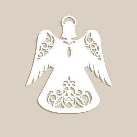 クリスマス彫刻透かし彫りの天使。レーザー切断のためのテンプレートです。画像装飾ホリデー ツリー、グリーティング カード、インテリア デザ  イラスト・ベクター素材