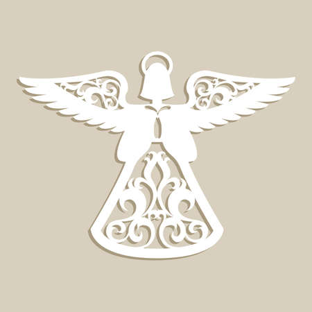 Christmas carved openwork angel. A template for laser cutting. Picture perfect for decorations holiday tree, greeting card, interior design, stencil production, for kids and family art creativity Ilustrace