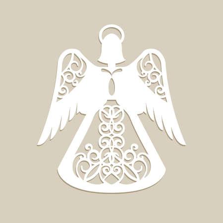 Kerst gesneden opengewerkte engel. Een sjabloon voor lasersnijden. Picture perfect voor decoraties vakantie boom, wenskaart, interieurontwerp, stencil productie, voor kinderen en familie kunst creativiteit