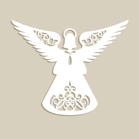 Christmas carved openwork angel. A template for laser cutting. Picture perfect for decorations holiday tree, greeting card, interior design, stencil production, for kids and family art creativity Ilustração