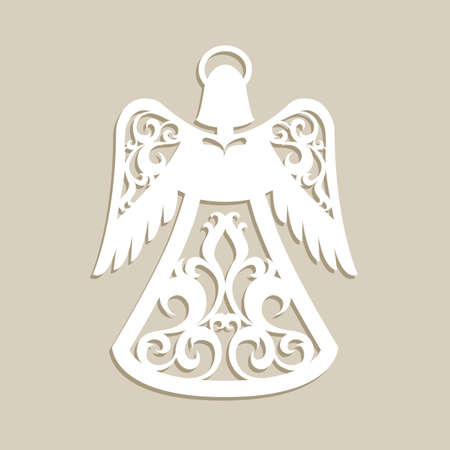 Christmas carved openwork angel. A template for laser cutting. Picture perfect for decorations holiday tree, greeting card, interior design, stencil production, for kids and family art creativity Illusztráció
