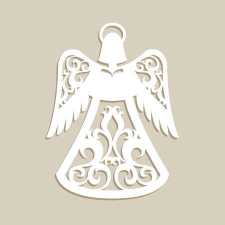 Navidad ángel tallado calado. Una plantilla para el corte por láser. Imagen perfecta para el árbol decoraciones de fiesta, tarjetas de felicitación, diseño de interiores, la producción de la plantilla, para los niños y la creatividad del arte de la familia Foto de archivo - 66949567