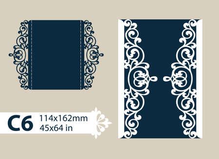 Layout felicitatie envelop met gesneden opengewerkte patroon. Het sjabloon voor groeten, uitnodigingen, enz. Foto is geschikt voor lasersnijden, plotter snijden of afdrukken. Vector Stock Illustratie