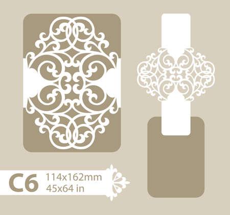 corte laser: dotación de felicitación con el patrón de diseño calado tallado. La plantilla para saludos, invitaciones, etc. imagen adecuado para el corte por láser, plotter de corte o la impresión. Vector