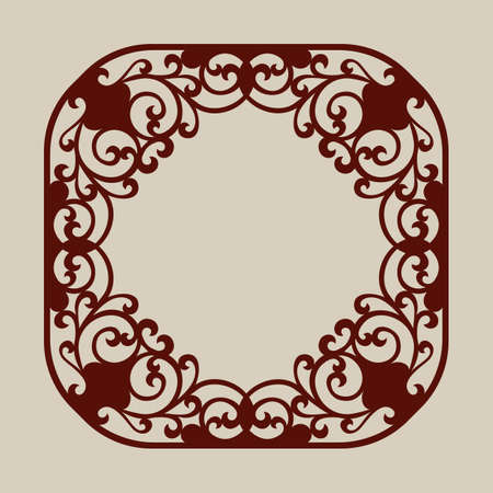 decorative pattern: Abstract frame with swirls. Template for laser cutting, plotter cutting or printing. Pattern is suitable for greeting cards, invitations, design interiors etc