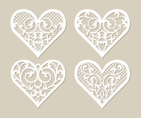 paper heart: Set stencil lacy hearts with carved openwork pattern. Template for interior design, layouts wedding cards, invitations, etc. Image suitable for laser cutting, plotter cutting or printing.