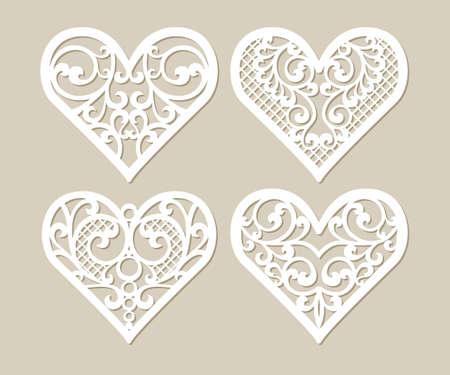 Set coeurs pochoir en dentelle ajourée avec motif sculpté. Modèle de design d'intérieur, des cartes mises en page de mariage, invitations, etc. image appropriée pour la découpe laser, découpe au traceur ou l'impression. Vecteurs