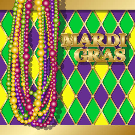 Mardi Gras background. Vector golden text fat tuesday on french language. Greeting cards with shining beads on traditional colors backdrop.