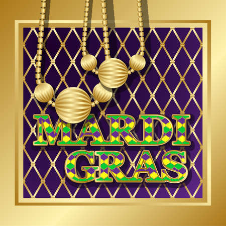 new orleans: Mardi Gras background. Vector golden text fat tuesday on french language. Greeting cards with shining beads on traditional colors backdrop.