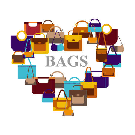 Bags icons in shape heart on white background. Vector illustration Illustration