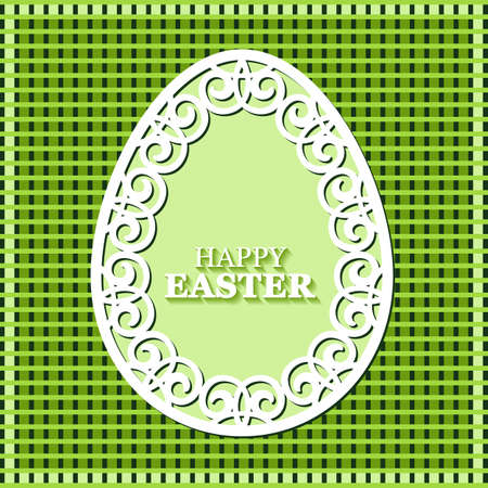 openwork: Vector illustration of beautiful openwork, carved paper Easter egg on green background