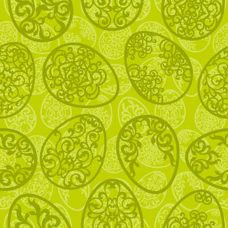 Easter seamless pattern with various carved eggs on green background