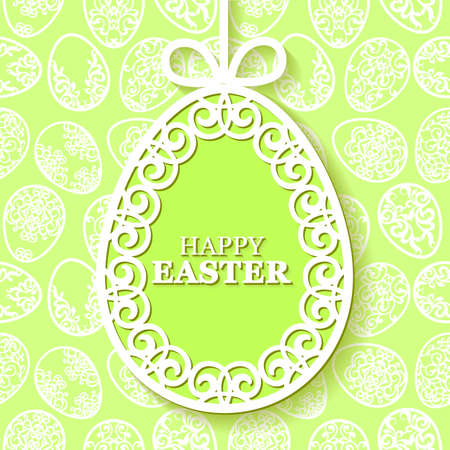 Vector illustration of beautiful openwork, carved paper Easter egg on green background