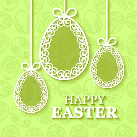 openwork: Vector illustration of beautiful openwork, carved paper Easter eggs on green background