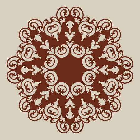 Geometric ornamental template pattern for decorative round panel. A picture suitable for paper cutting, printing, laser cutting or engraving wood, metal, stencil manufacturing