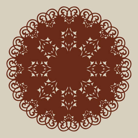 Geometric ornament. The template pattern for decorative round panel. A picture suitable for paper cutting, printing, laser cutting or engraving wood, metal, stencil manufacturing
